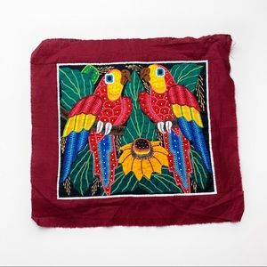 Vintage Panama Mola Embroidered Parrot Quilt Patch